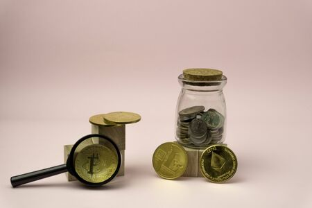 Bitcoin on colorful backgound. Business concept with copy space.