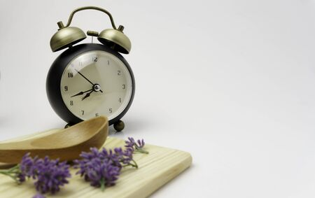 Empty spoon, cutting board, clock, top view, background, template, food display montage, free space for text