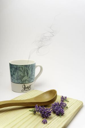 """Empty spoon, cutting board, glass""""Just for you"""", top view, background, template, food display montage, free space for text"""