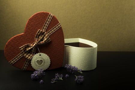 Gift box for Snt. Valentines day. Love text for background and romantic concept.