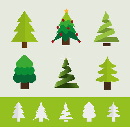 star ornament: trees icons with christmas style, Vector design Illustration