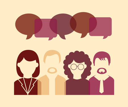 persone che parlano: Communication concept, icons of people talking, Vector design