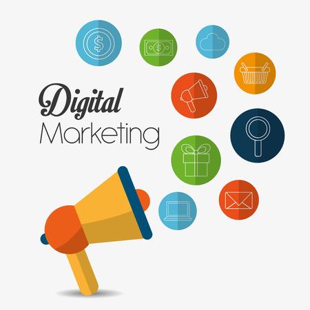 Digitální marketing koncept s nákupy ikony designu, vektorové ilustrace 10 eps grafické.