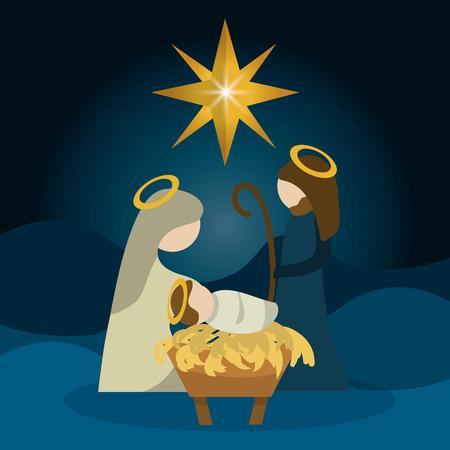Vrolijk Kerstmis concept met heilige familie ontwerp, vector illustratie 10 eps grafische.