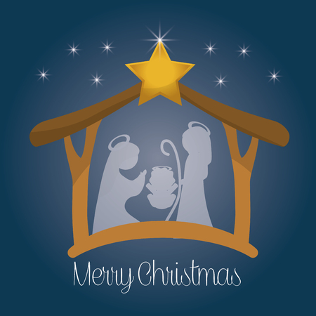 nativity scene: Merry Christmas concept with holy family design, vector illustration 10 eps graphic. Illustration
