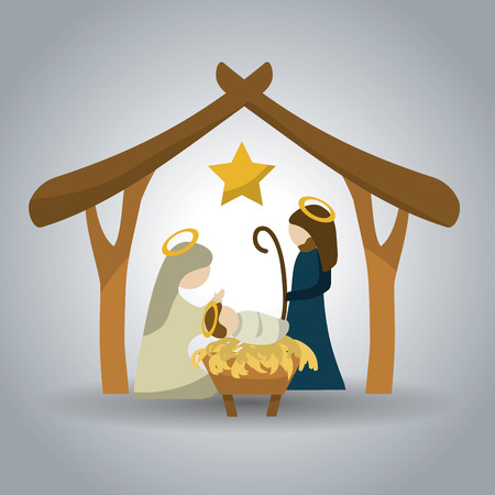 Merry Christmas concept with holy family design, vector illustration 10 eps graphic. Çizim