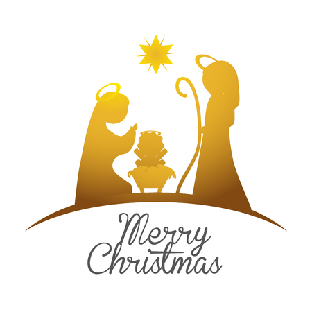 Vrolijk Kerstmis concept met heilige familie ontwerp, vector illustratie 10 eps grafische. Stockfoto - 46186331
