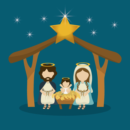 bethlehem christmas: Merry Christmas concept with holy family design, vector illustration 10 eps graphic. Illustration