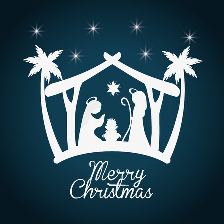 Merry Christmas concept with holy family design, vector illustration 10 eps graphic. Stock Illustratie