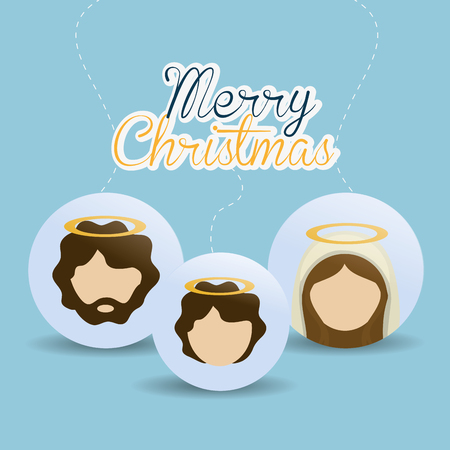 nativety: Merry Christmas concept with holy family design, vector illustration 10 eps graphic. Illustration