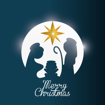 familia cristiana: Concepto Feliz Navidad con el diseño de la familia santa, ilustración vectorial eps 10 gráfico.