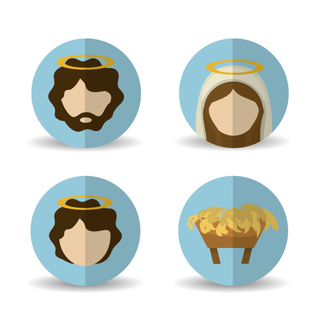 holy family: Merry Christmas concept with holy family design, vector illustration 10 eps graphic. Illustration