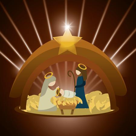 heilige familie: Frohe Weihnachten Konzept mit heiliger Familie Design, Vektor-Illustration 10 EPS-Grafik.