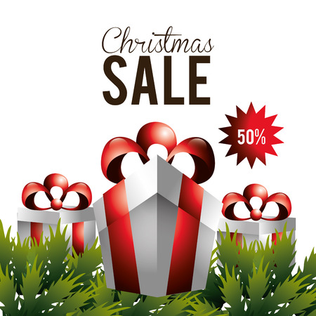 christmas present: Merry christmas concept with sale icons design, vector illustration 10 eps graphic.