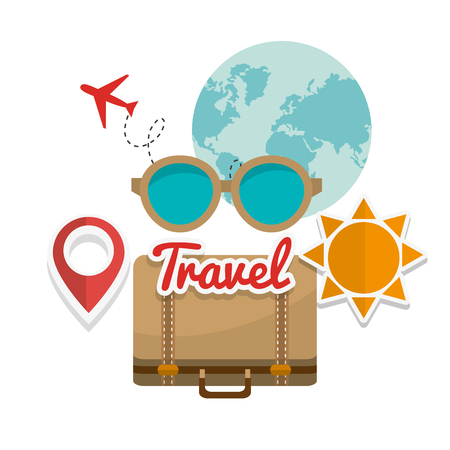 glases: Travel concept with summer icons design, vector illustration 10 eps graphic.