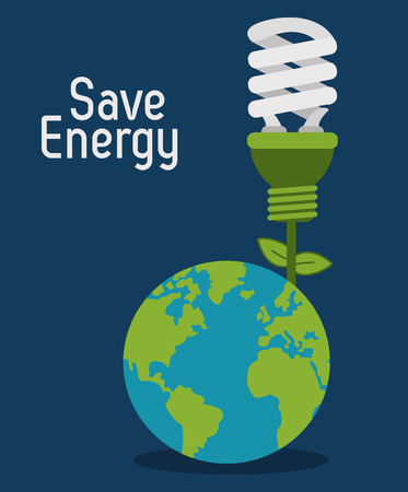Bespaar energie concept met eco iconen ontwerp, vector illustratie 10 eps grafische. Stock Illustratie
