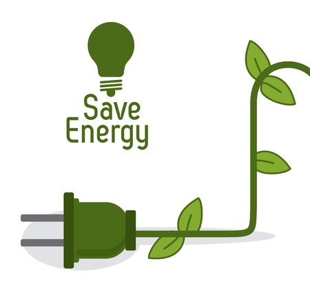 Save energy concept with eco icons design, vector illustration 10 eps graphic. Çizim