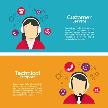 콜 센터에 대한 고객 서비스 개념 디자인, 벡터 일러스트 레이 션 EPS 10 그래픽 아이콘.