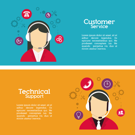 Customer service concept over call center iconen ontwerp, vector illustratie 10 eps grafische.