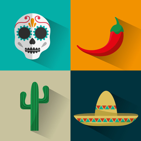 hispanics: Mexican  concept with culture icons design, vector illustration 10 eps graphic.