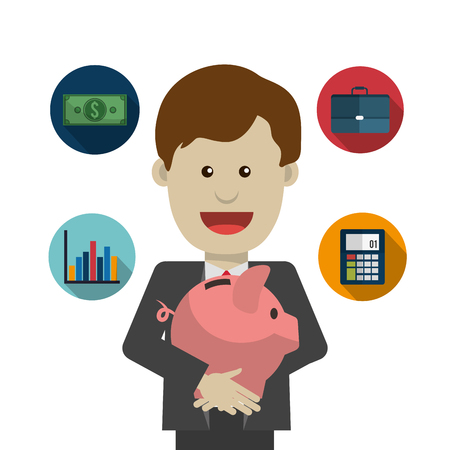 fund world: Profit  concept with money and business icons design, vector illustration