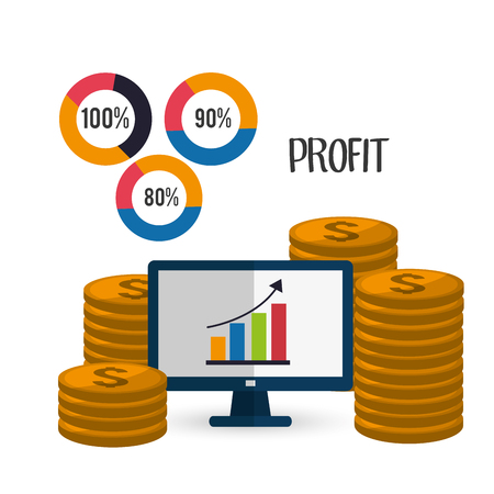 Profit  concept with money and business icons design, vector illustration