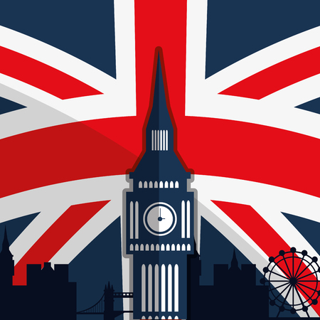london night: London concept with landmarks icons design, vector illustration
