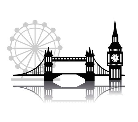 london night: London concept with landmarks icons design Illustration