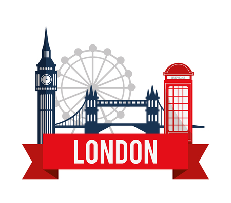 London concept with landmarks icons design Çizim