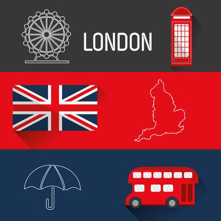 London concept with landmarks icons design Ilustração