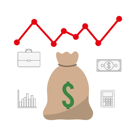 economic forecast: Profit  concept with money and business icons design, vector illustration