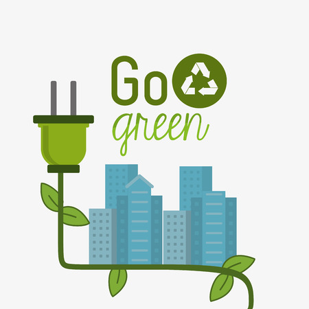 go green concept: Go green concept with eco icons design Illustration