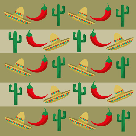 hispanics: Mexican  concept with culture icons design Illustration