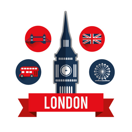thames: London concept with landmarks icons design, vector illustration