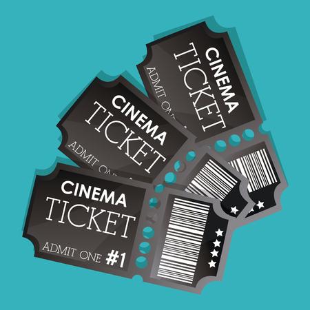 teatro: Concepto del cine con el diseño de los iconos de las entradas, ilustración vectorial