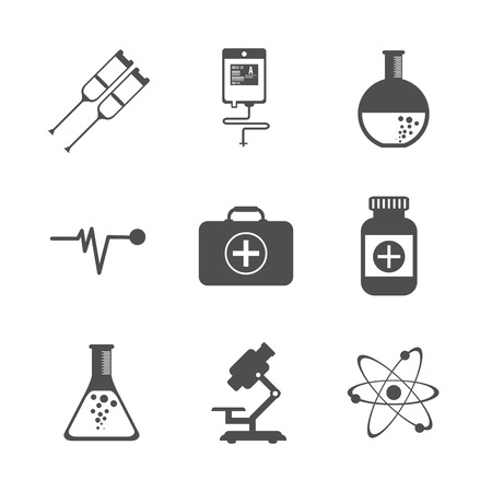medicina: Concepto de atención médica con el diseño de iconos de la medicina, ilustración vectorial