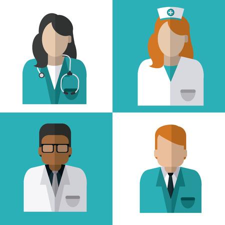 nurses: Concepto de atención médica con el diseño de iconos de la medicina, ilustración vectorial