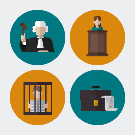 judicial system: Law concept with justice icons design, vector illustration