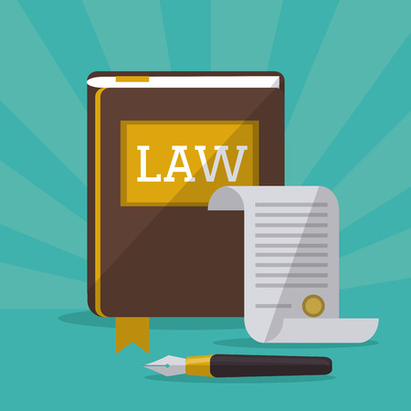 Law concept with justice icons design, vector illustration  Stock Illustratie