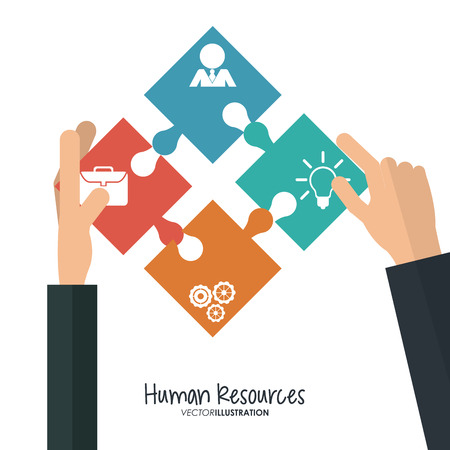 job search: Human resources concept with office icons design, vector illustration 10 eps graphic.