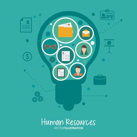 Concepto de recursos humanos con el diseño de los iconos de oficina, ilustración vectorial eps 10 gráfico.