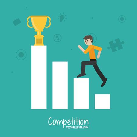 competencia: Concepto competitivo con diseño hombre de negocios, ilustración vectorial eps 10 gráfico.