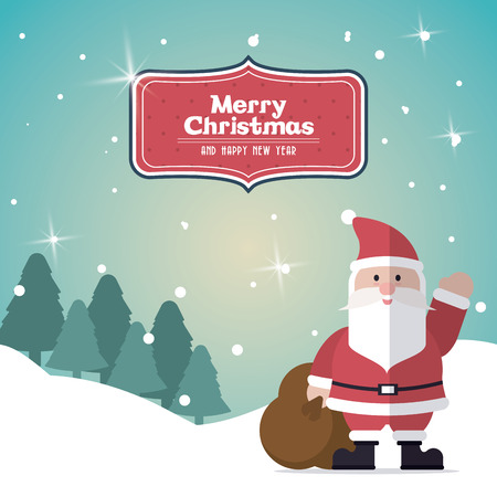 Merry Christmas with decoration icons design Illustration