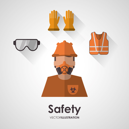 protect safety: Safety concept about equipment icons design, vector illustration 10 eps graphic.