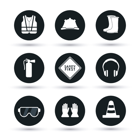 construction plant: Safety concept about equipment icons design, vector illustration 10 eps graphic.