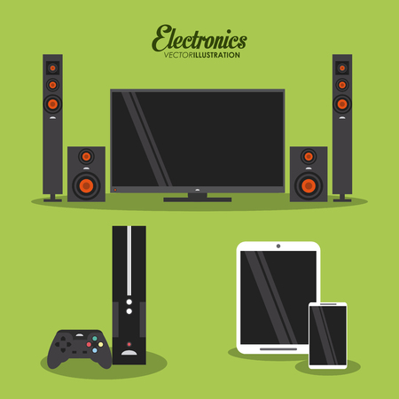 electronics equipment: Electronics concept and technology icons design, vector illustration 10 eps graphic.