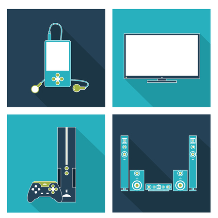 speaker system: Electronics concept and technology icons design, vector illustration 10 eps graphic.