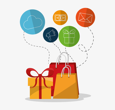 worldwide website: Digital marketing concept about shopping icons design, vector illustration 10 eps graphic.