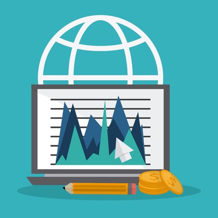 fund world: Global economy concept and business icons design, vector illustration 10 eps graphic.