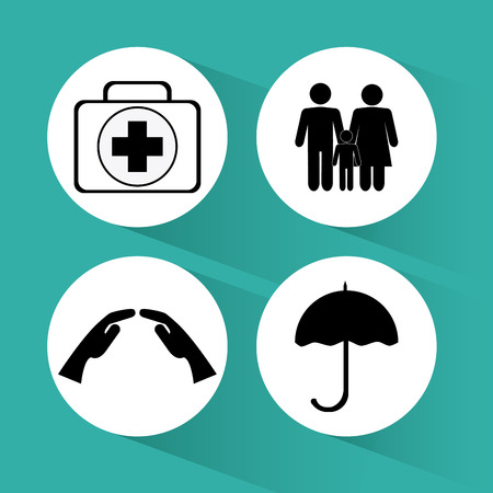 hand guards: Insurance concept with icons design, vector illustration 10 eps graphic. Illustration